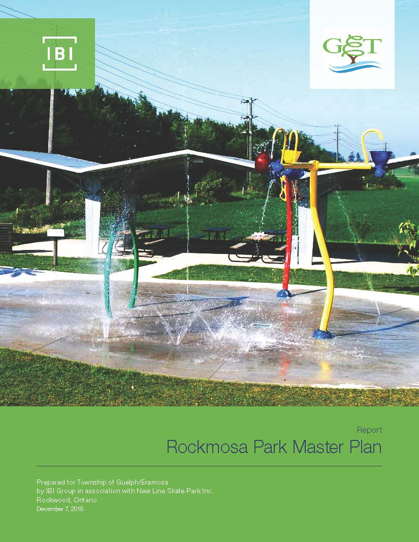 Image of the Rockmosa Park Splash Pad on the Cover Page of the Master Plan