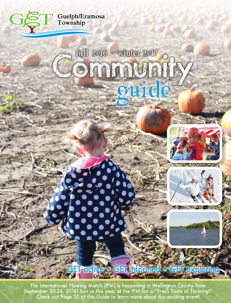 Image of the cover of the Fall and Winter Community Guide featuring a baby in a snowsuit with inset images of a parade, pumpkin picking and two older adults riding bikes