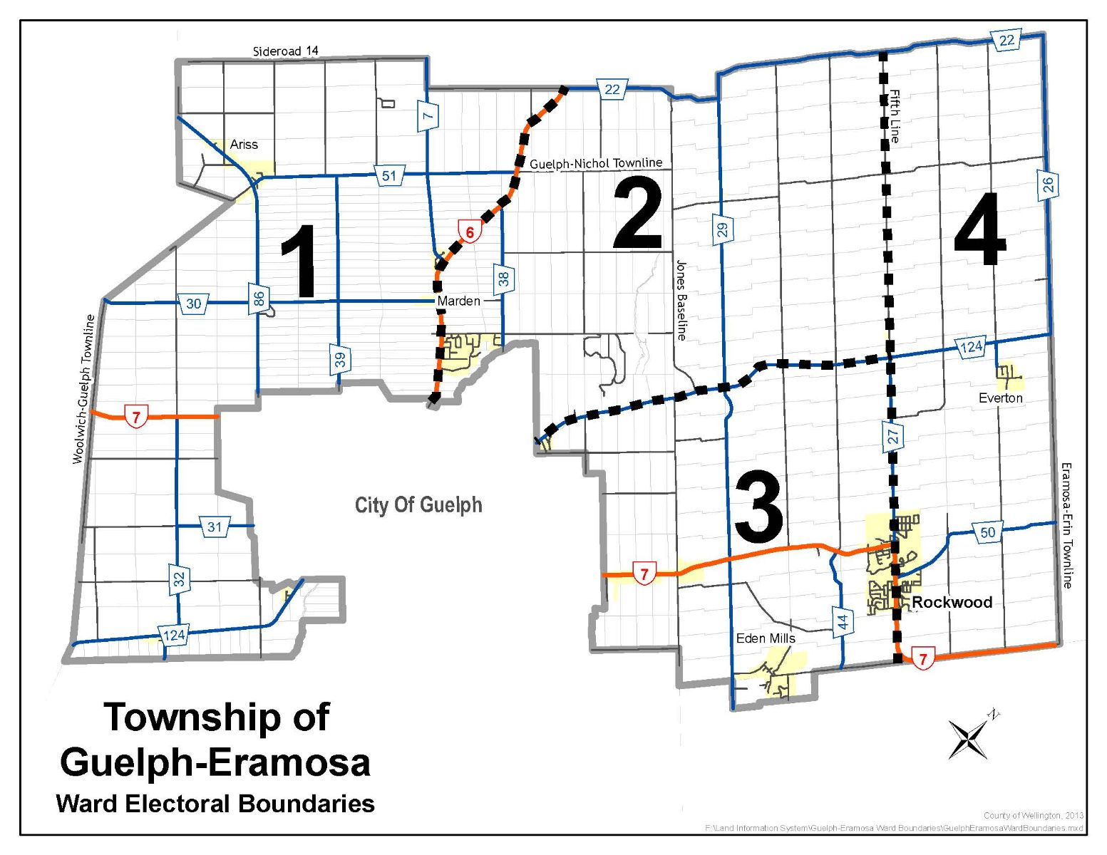 Guelph/Eramosa Township Ward Map